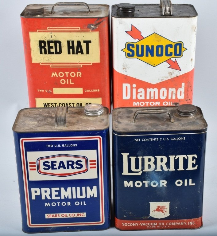 4- VINTAGE 2 GAL OIL CANS RED HAT, SUNOCO