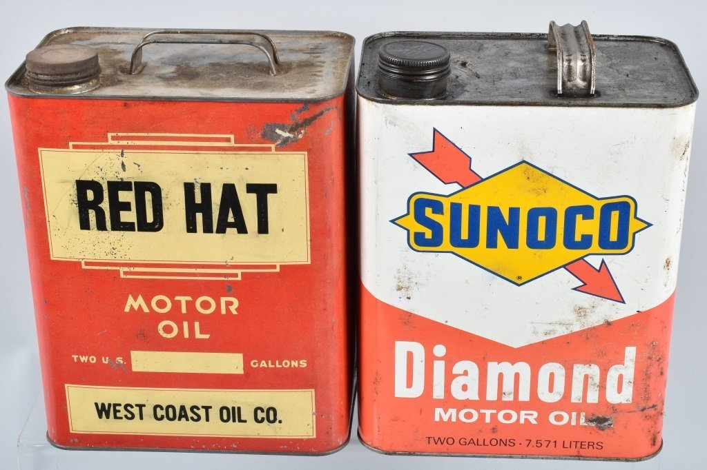 4- VINTAGE 2 GAL OIL CANS RED HAT, SUNOCO - 2