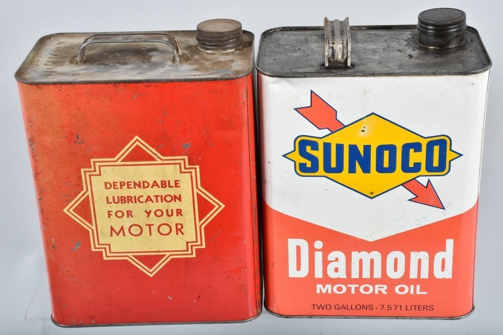4- VINTAGE 2 GAL OIL CANS RED HAT, SUNOCO - 3