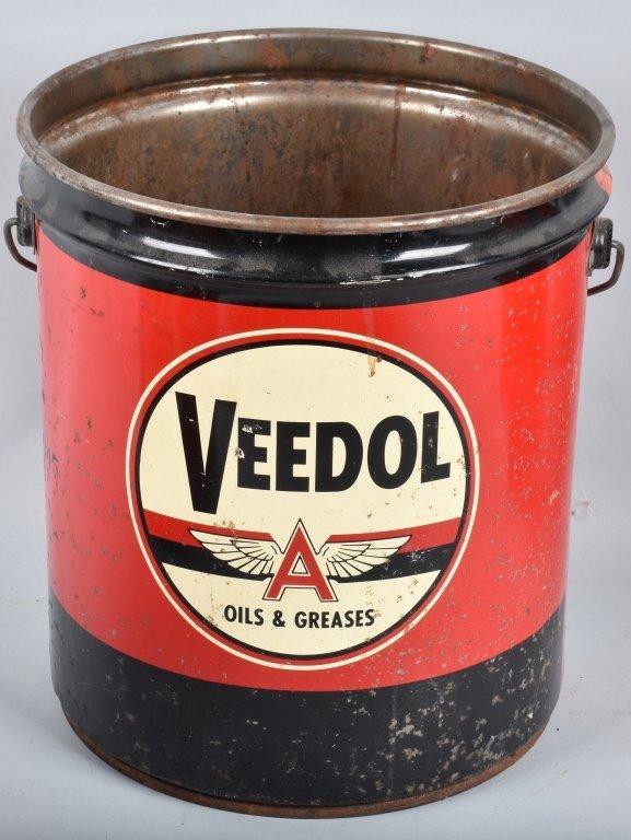 3- VINTAGE GREASE & OIL PAILS - 3