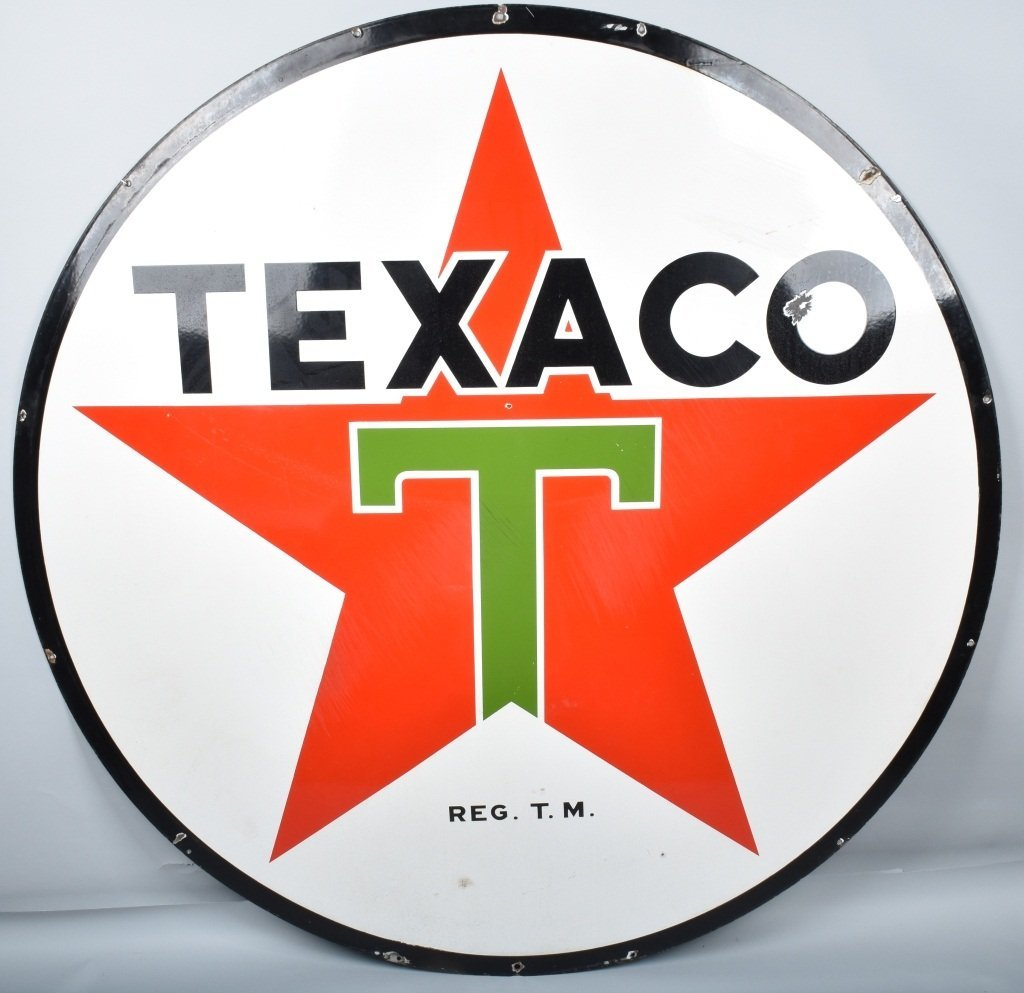 "72"" TEXACO DS PORCELAIN SIGN"