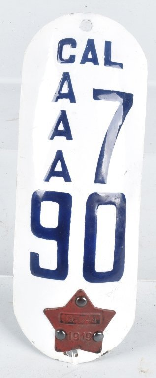 RARE 1919 CALIFORNIA MOTORCYCLE LICENSE PLATE