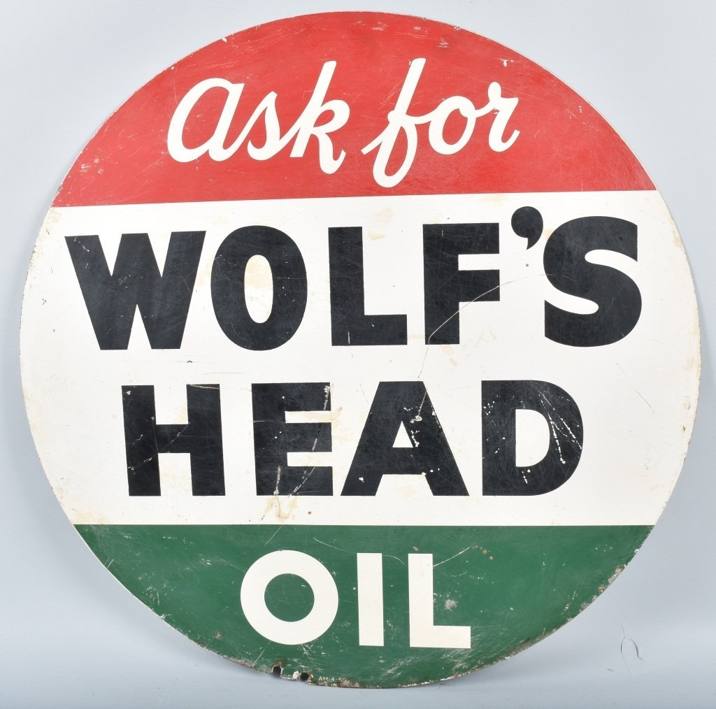 WOLF'S HEAD OIL DS TIN SIGN