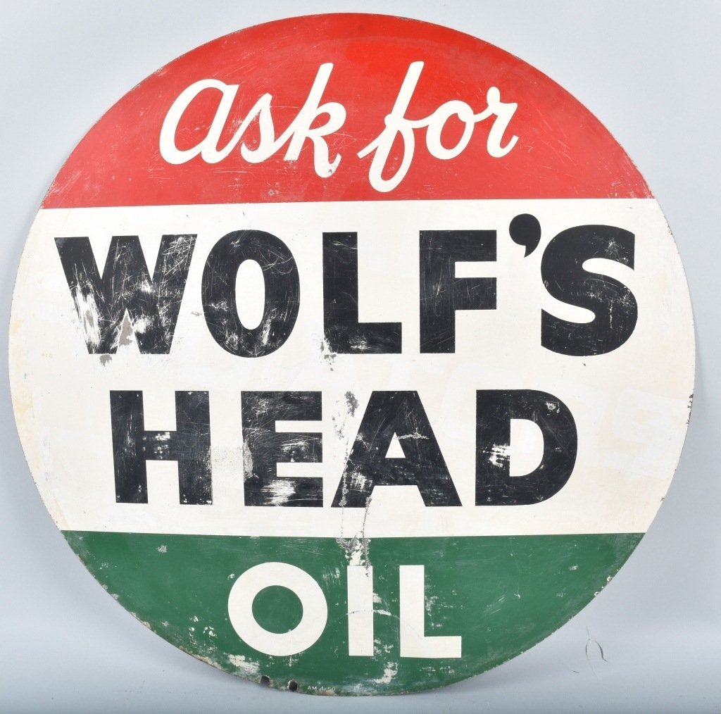 WOLF'S HEAD OIL DS TIN SIGN - 2