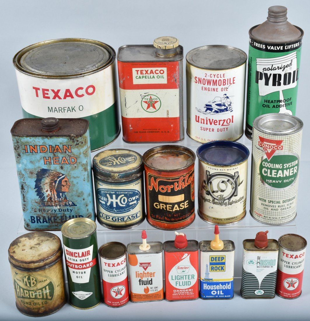 Lot of VINTAGE GAS COMPANY OILS & MORE CANS