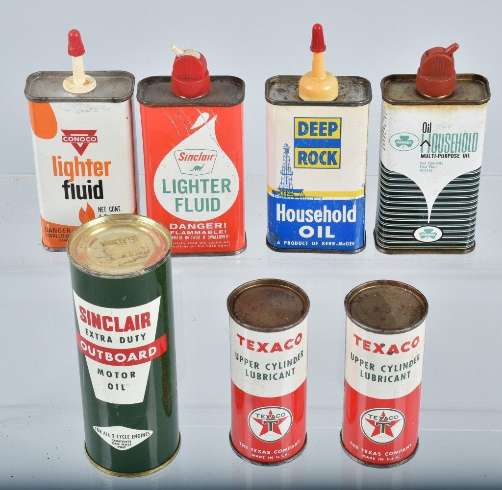 Lot of VINTAGE GAS COMPANY OILS & MORE CANS - 7