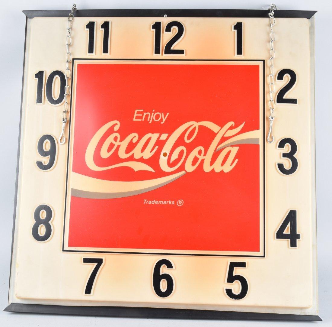 LARGE COCA COLA LIGHTED CLOCK, VINTAGE