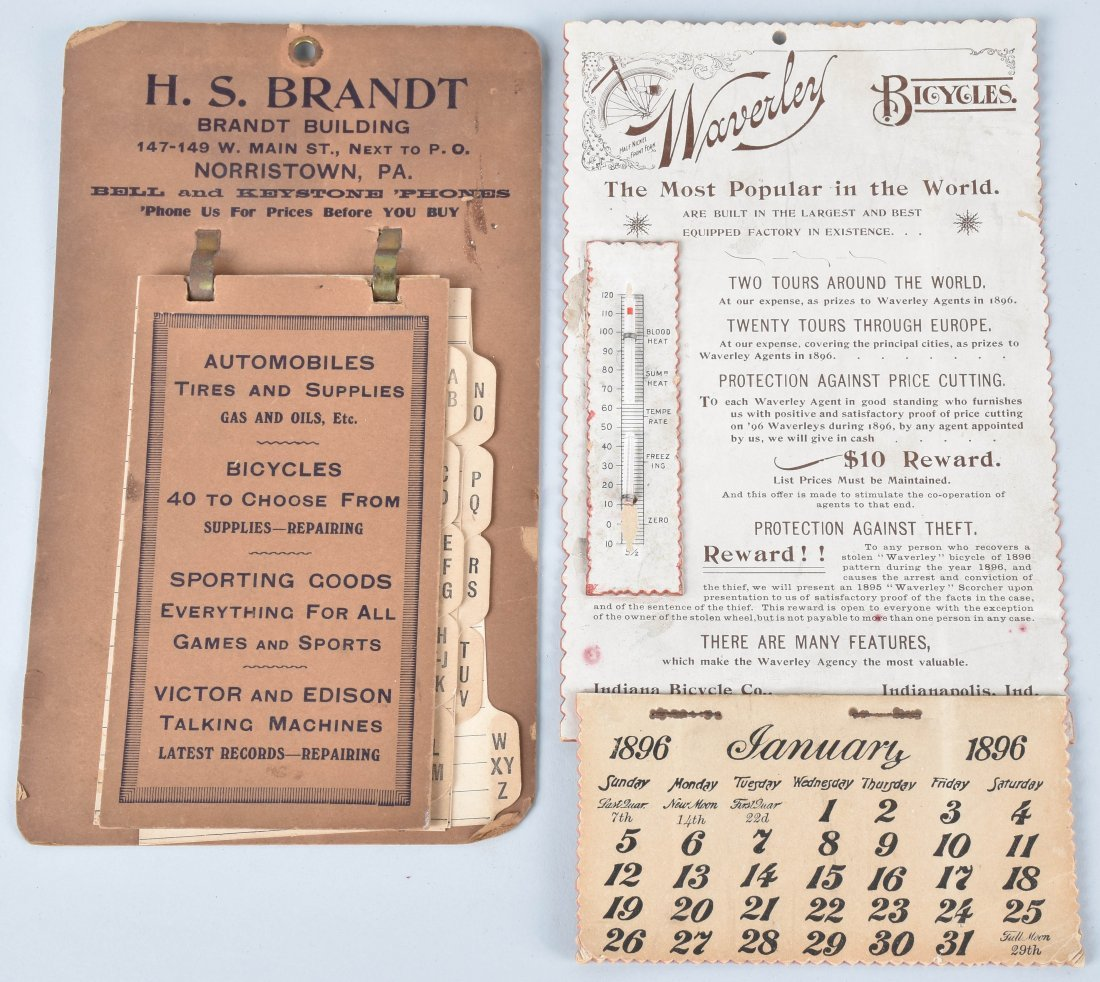 1896 WAVERLY BICYCLE CALENDAR and MORE