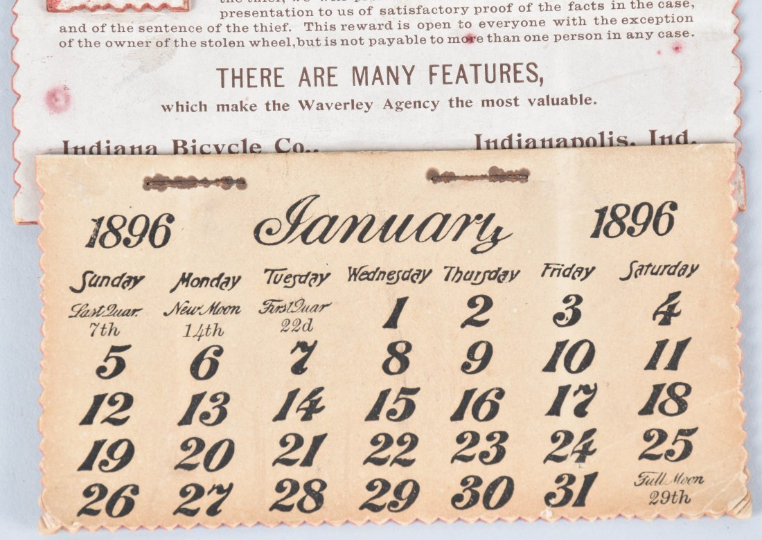 1896 WAVERLY BICYCLE CALENDAR and MORE - 3