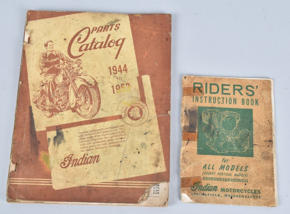 2-INDIAN MOTORCYCLE ITEMS, CATALOG, RIDERS MANUAL
