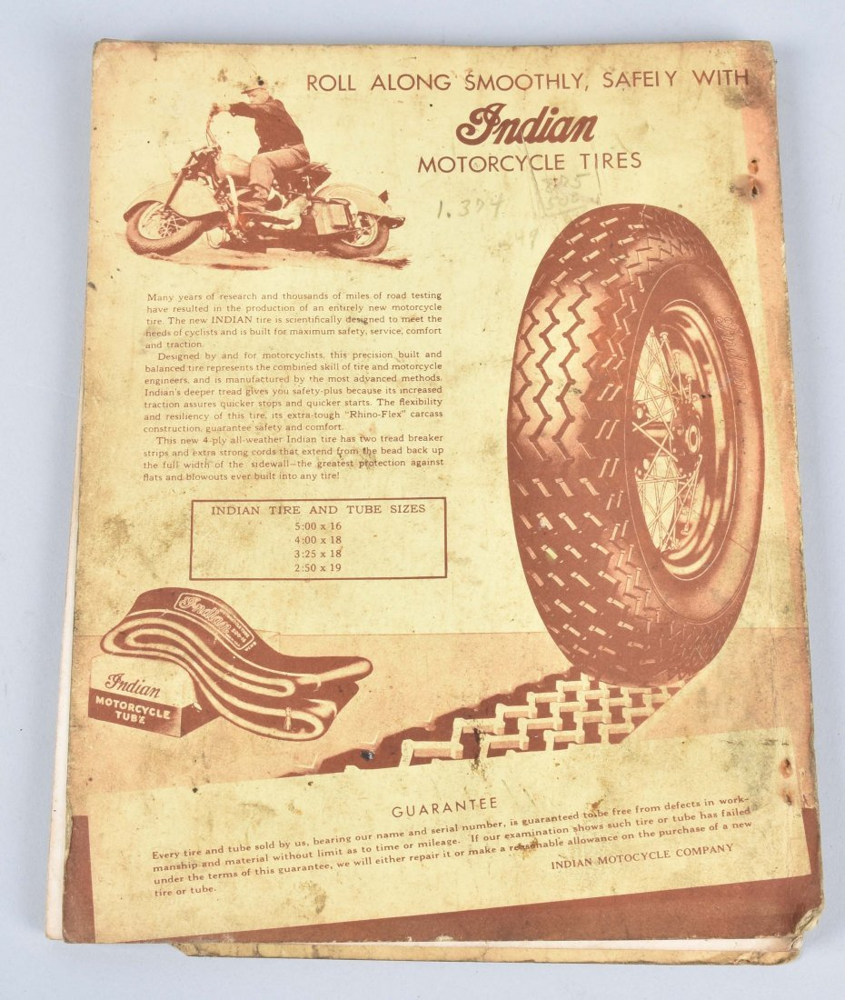 2-INDIAN MOTORCYCLE ITEMS, CATALOG, RIDERS MANUAL - 9