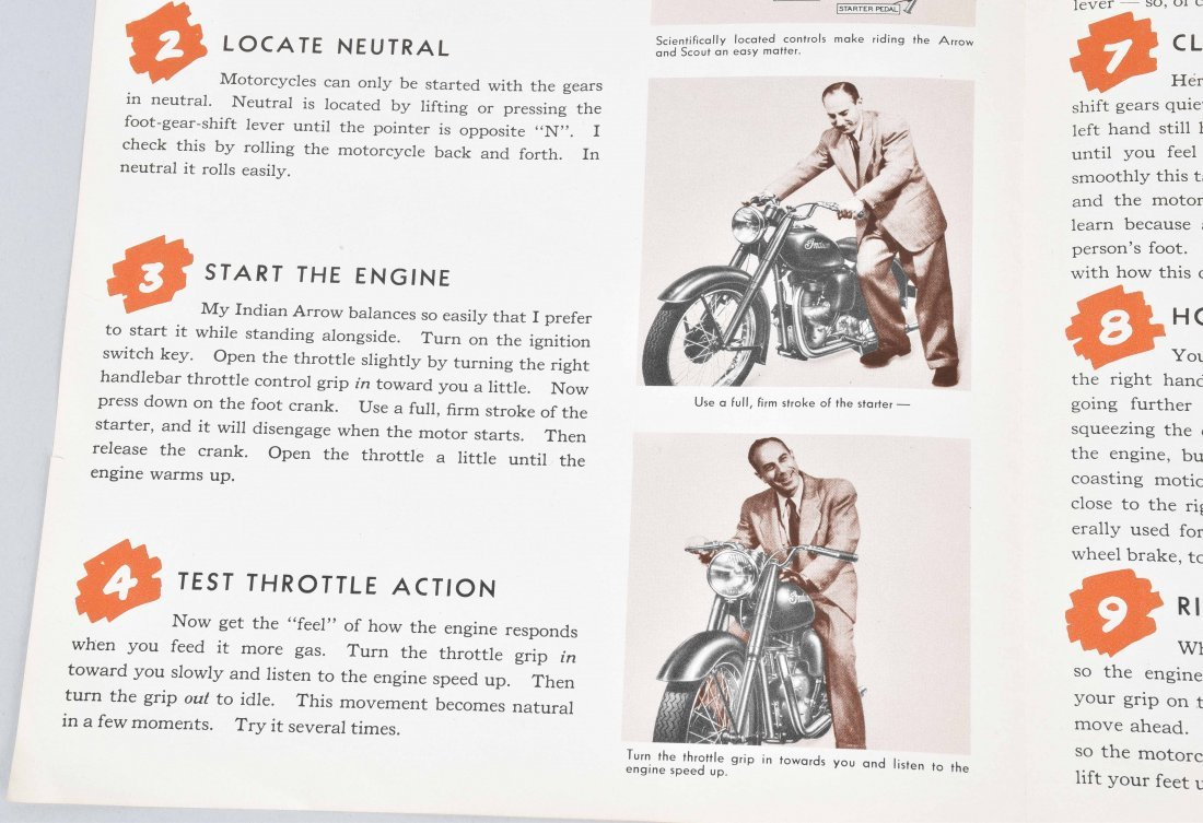 1948 INDIAN MOTORCYCLE BROCHURE, ARROW MODEL - 4
