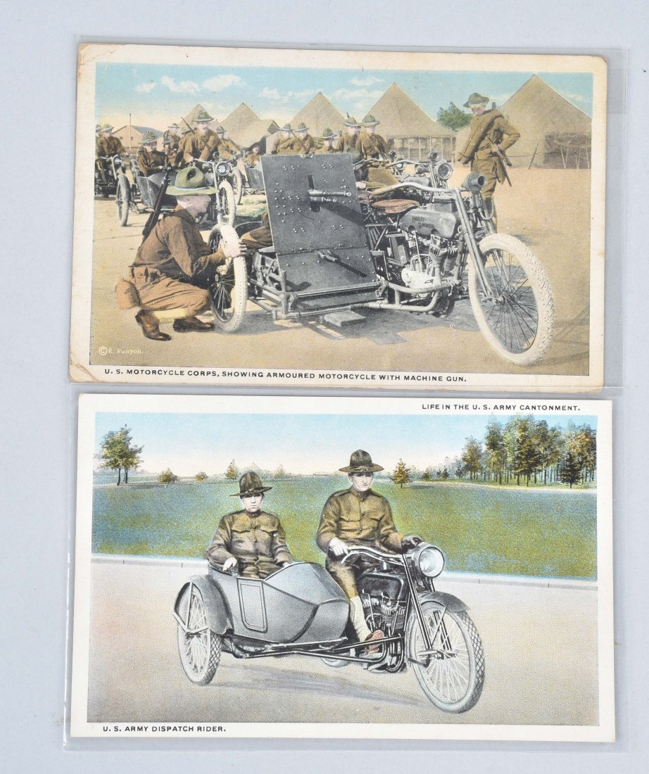 2-WW1 HARLEY DAVIDSON MILITARY CYCLE POST CARDS