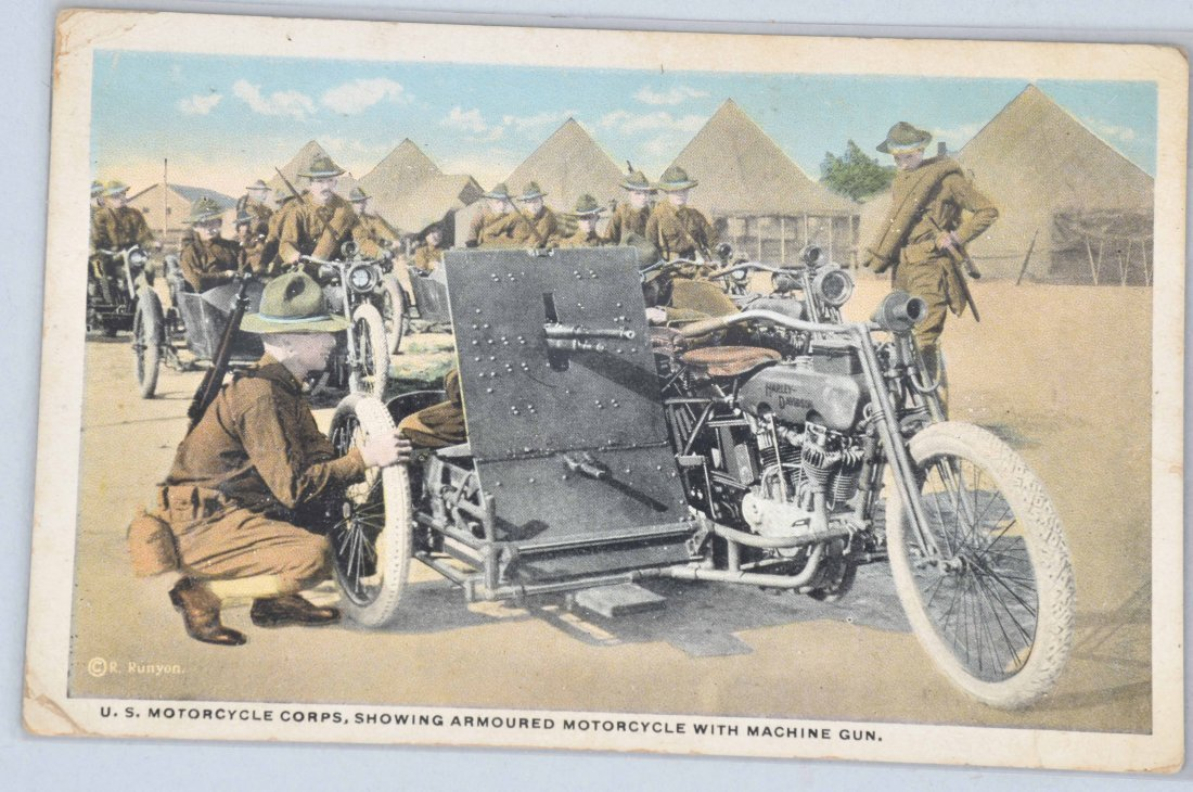 2-WW1 HARLEY DAVIDSON MILITARY CYCLE POST CARDS - 2