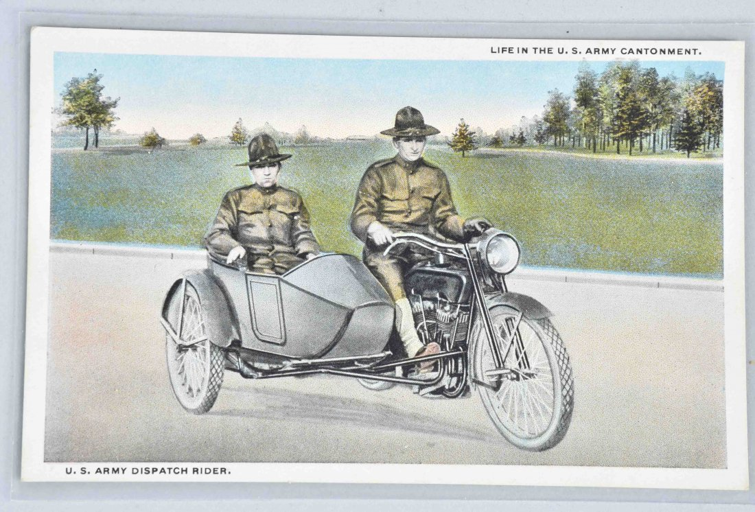 2-WW1 HARLEY DAVIDSON MILITARY CYCLE POST CARDS - 3