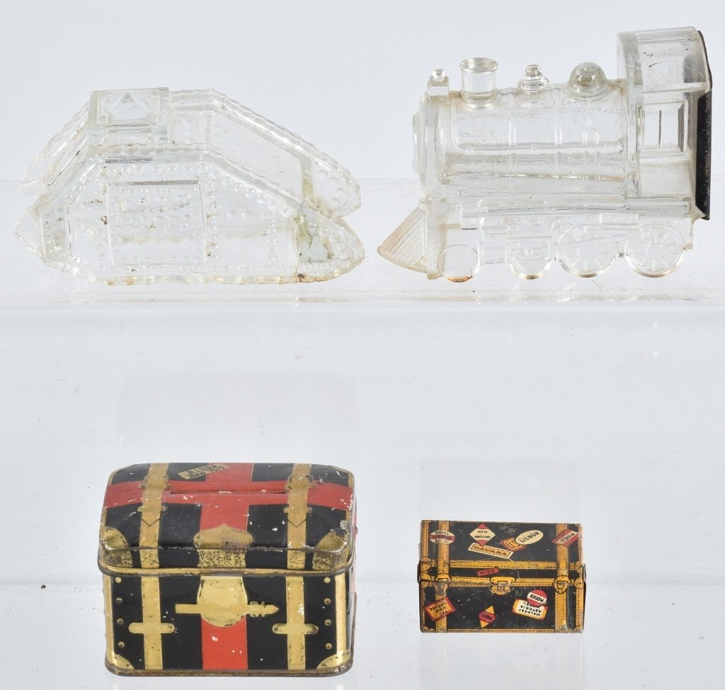 EARLY CANDY CONTAINERS, TIN BANK and MORE