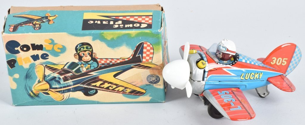 JAPAN Tin Friction COMIC PLANE w/ BOX