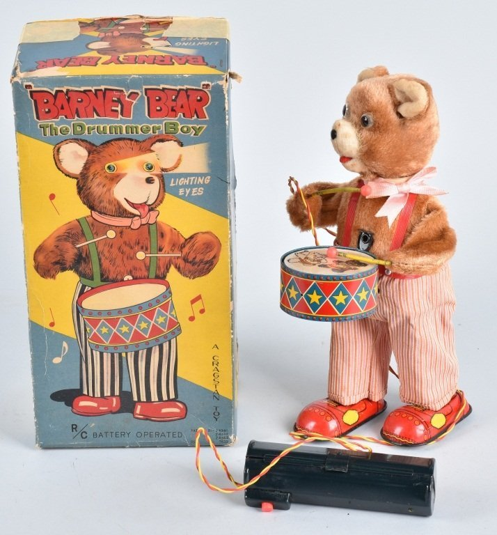 JAPAN Battery Op BARNEY BEAR DRUMMER w/ BOX