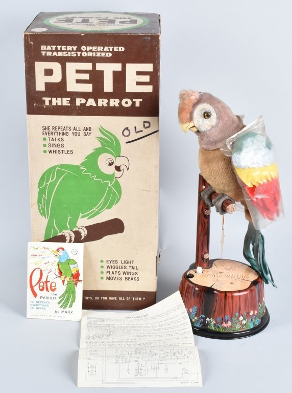 """MARX Battery Op PETE THE PARROT """"New Old Stock"""""""