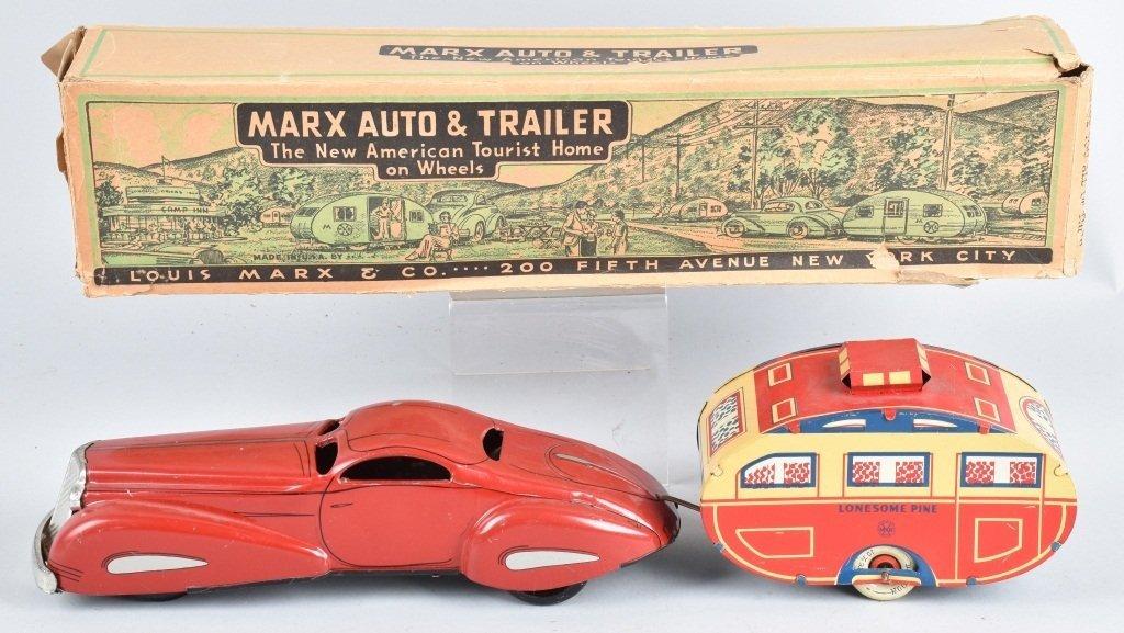 MARX Tin Windup AUTO & LONESOME PINE TRAILER w/BOX