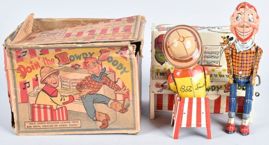 UNIQUE ART Tin Windup HOWDY DOODY BAND w/ BOX