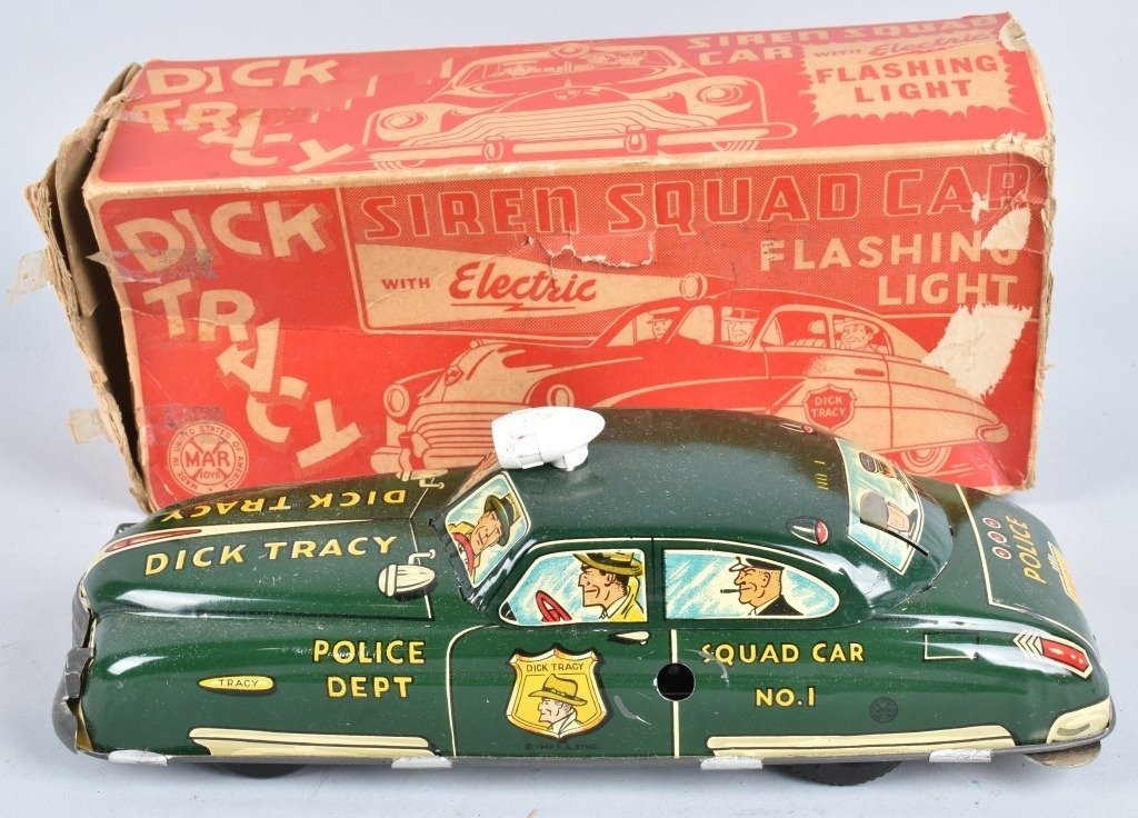 MARX Tin Windup DICK YTRACY SIREN SQUAD CAR w/ BOX