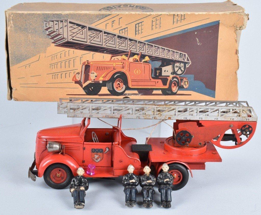 VeBe Tin Windup FIRE LADDER TRUCK w/ BOX
