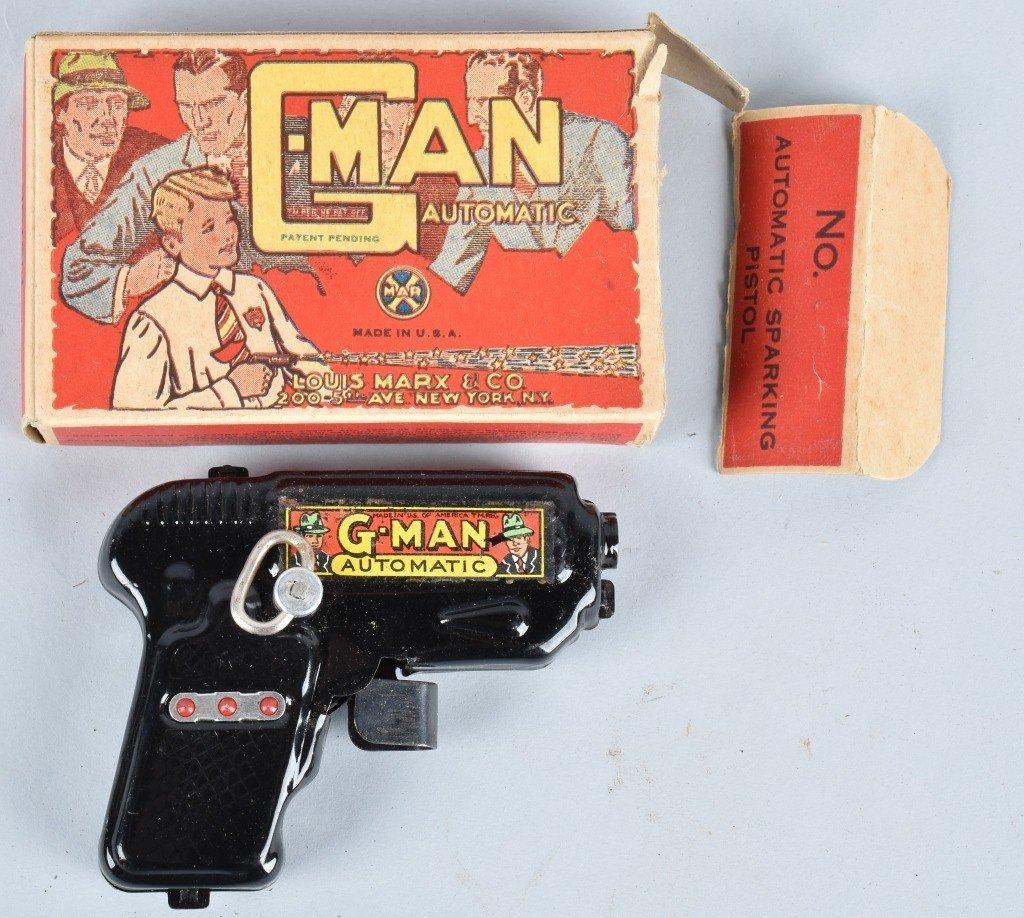 MARX 1930'S G-MAN TIN WINDUP GUN, BOXED
