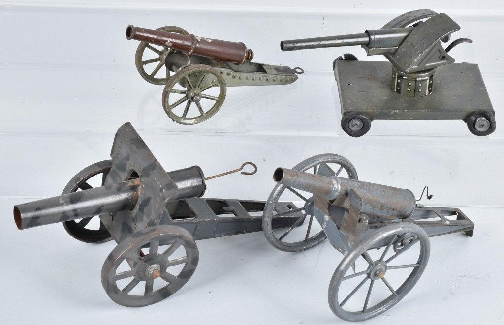 4-GERMAN TIN TOY  CANNONS
