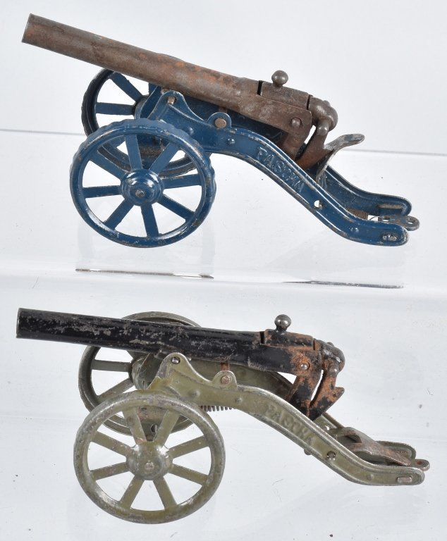 2-PASCHA BREECH LOADING TIN TOY CANNONS, VINTAGE