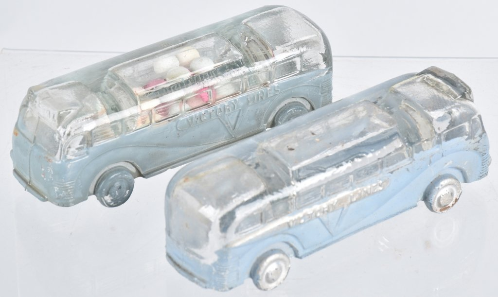 2- VICTORY LINES BUS CANDY CONTAINERS