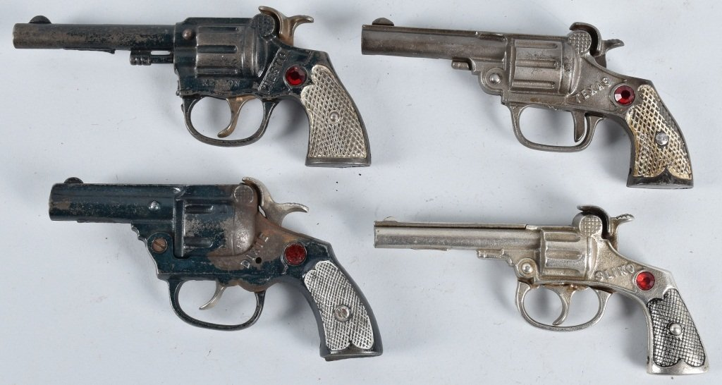 4-CAST IRON CAP GUNS with JEWELS