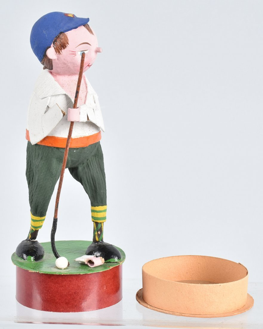GERMAN PAPER MACHE GOLFER CANDY CONTAINER