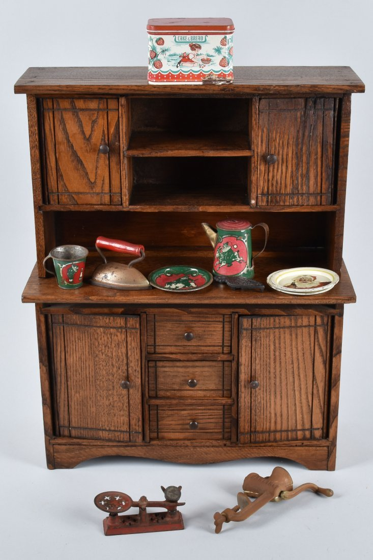 OAK DOLL CUPBOARD with ACCESORIES, VINTAGE