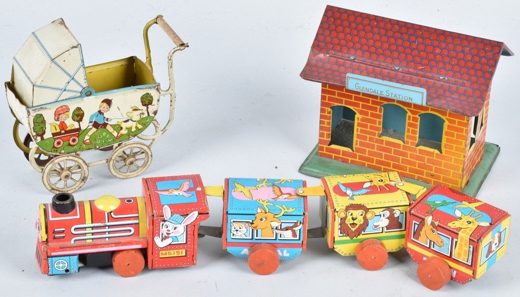 3-VINTAGE TIN TOYS, TRAIN and MORE