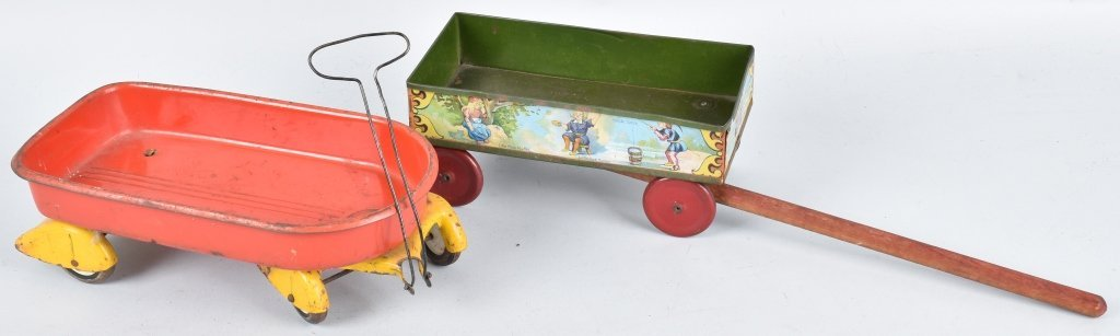 2-EARLY METAL TOY WAGONS