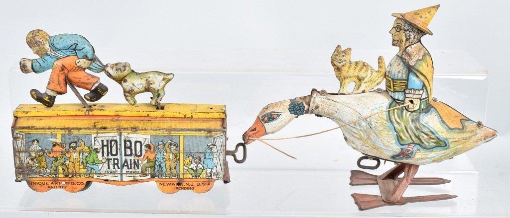 UNIQUE ART TIN WINDUP MOTHER GOOSE & HOBO TRAIN