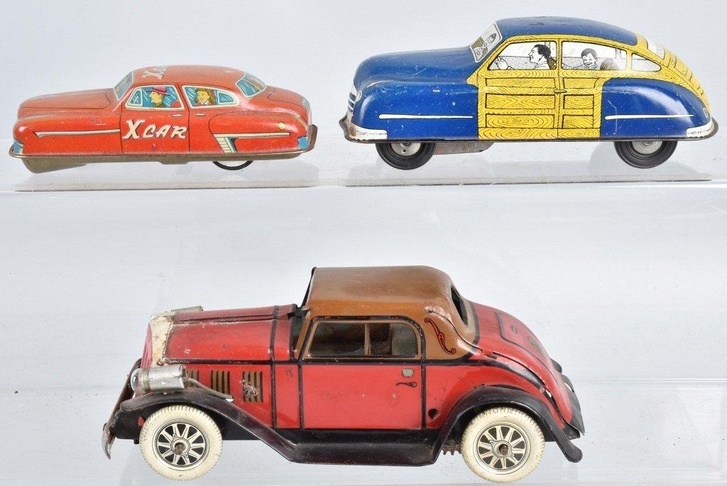 3-VINTAGE TIN TOY AUTOS, MARX & MORE