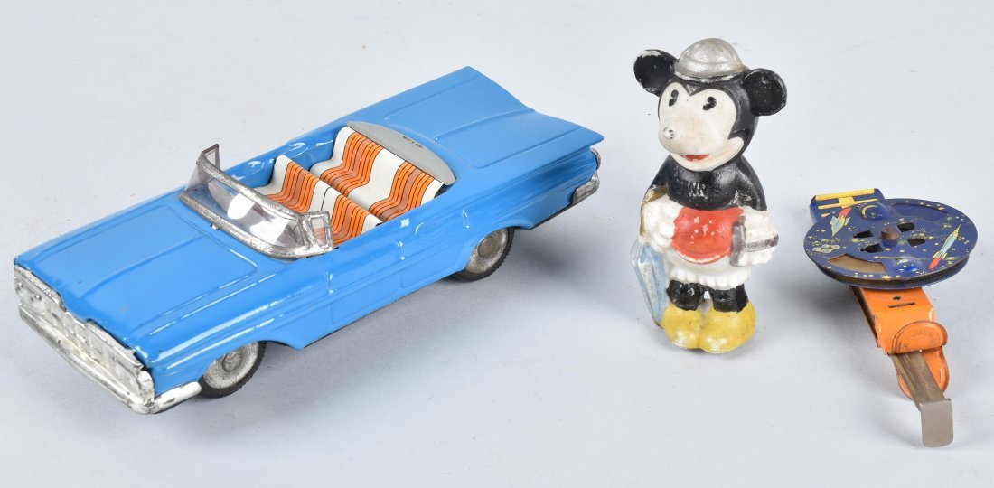 JAPAN TIN CAR, SAPCE SPARKLER, & MINNIE BISQUE