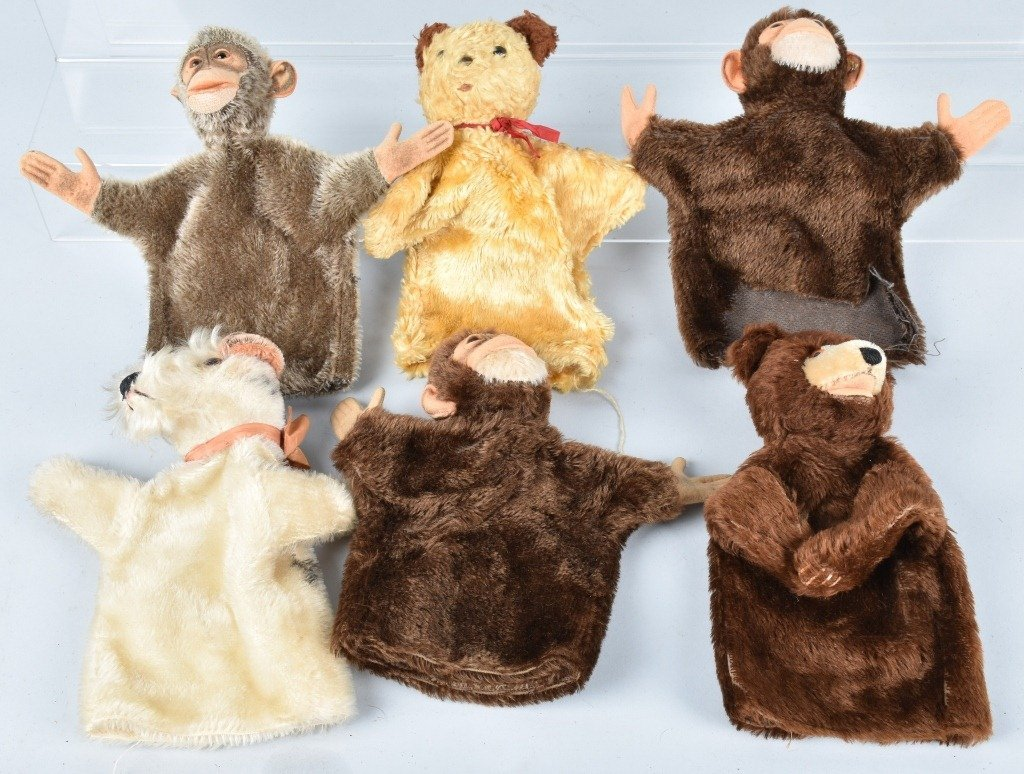 6-VINTAGE PUPPETS, STEIFF and MORE