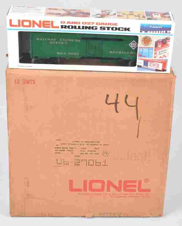 12-LIONEL .027 RAILWAY EXPRESS  CARS, BOXED