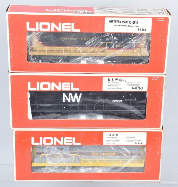3-LIONEL ENGINES, NW 6-8763, NP 6-8668, & 6-8759