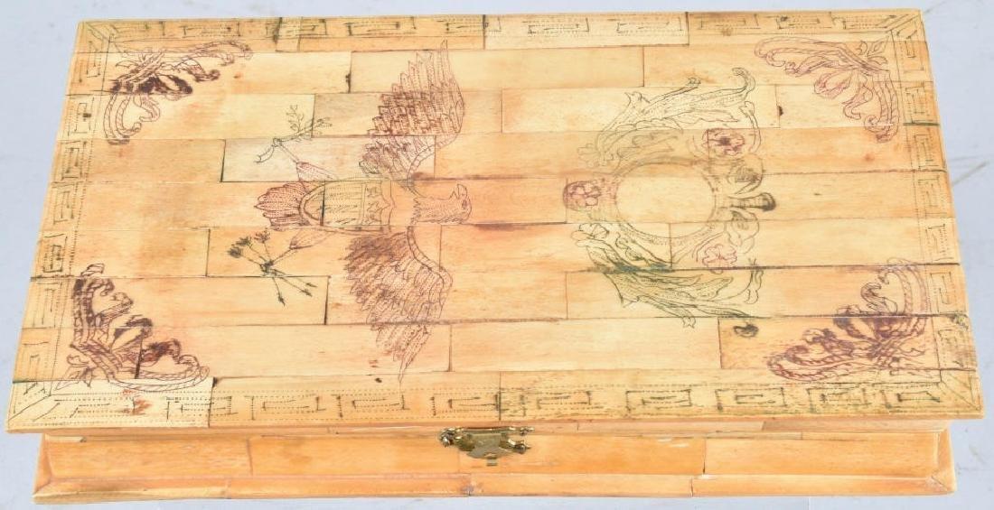 BONE TRINKET BOX w/ EAGLE & SHIELD SCRIMSAW