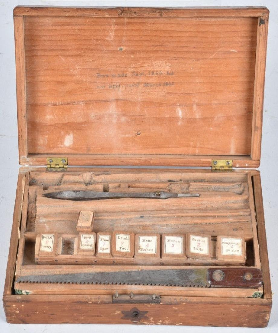 1860s DOCTOR KIT WOOD BOX & CONTENTS