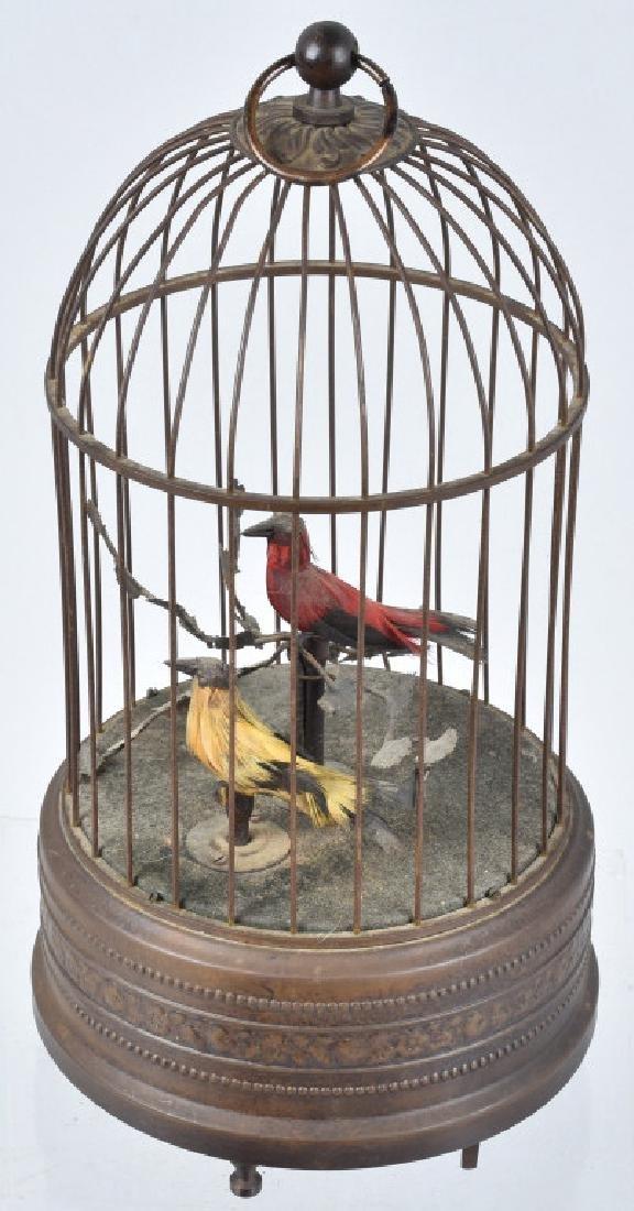 GERMAN WINDUP BIRDCAGE with 2 BIRDS