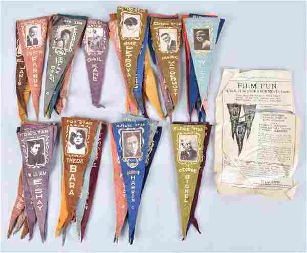 55- 1916 SILENT MOVIE STAR PENNANTS w/BOX
