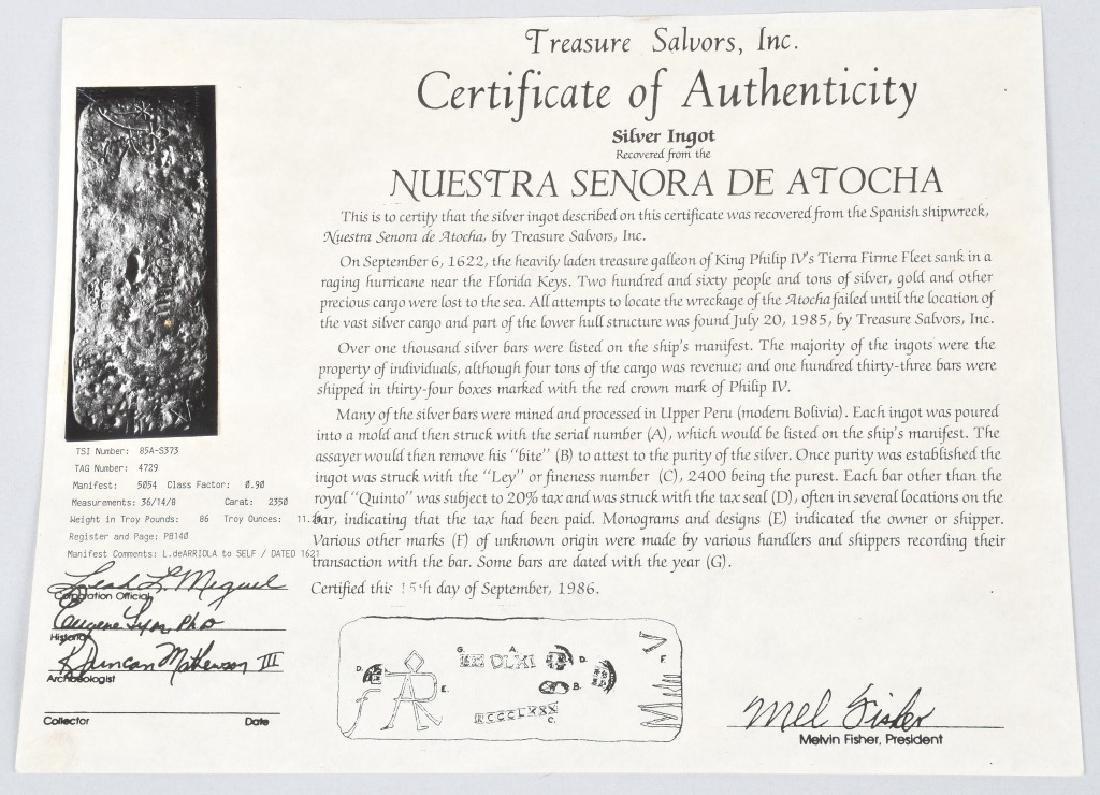 1622 ATOCHA SHIPWRECK SILVER BAR 1045 Troy Ounces - 2