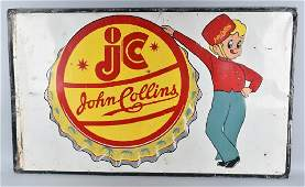 JOHN COLLINS BEVERAGE TIN ADVERTISING SIGN