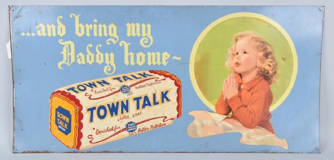 """TOWN TALK BREAD """"Bring Daddy Home"""" TIN SIGN"""