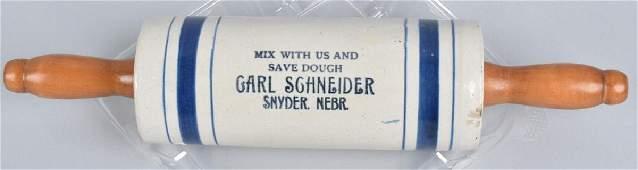 CARL SCHNEIDER ADVERTISING STONEWARE ROLLING PIN